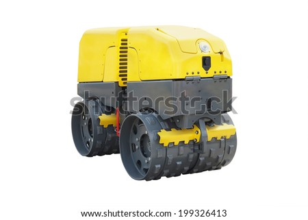 modern road roller under the white background - stock photo
