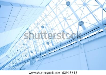 modern roof inside office center - stock photo