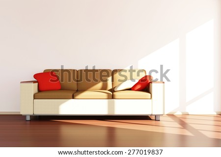 Modern Room 3D Interior with Sofa. 3D Rendering - stock photo