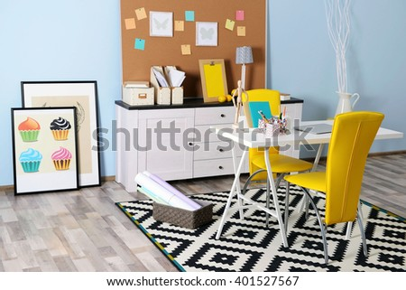 Modern room design. Furniture set with table and chairs. - stock photo