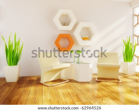 modern room with white wall and orange elements - stock photo