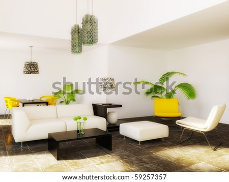 modern room with yellow furniture and white wall - stock photo
