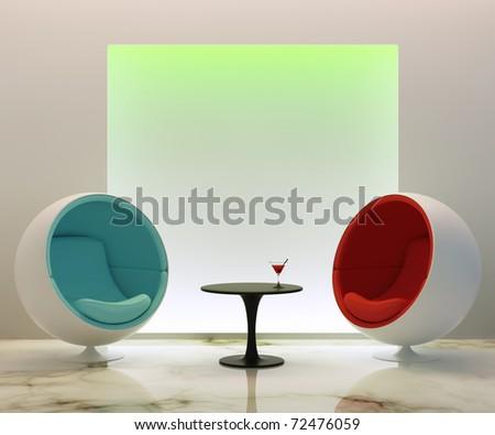 Modern round chairs - stock photo