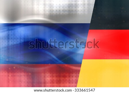 Modern Russia Germany Flags - stock photo
