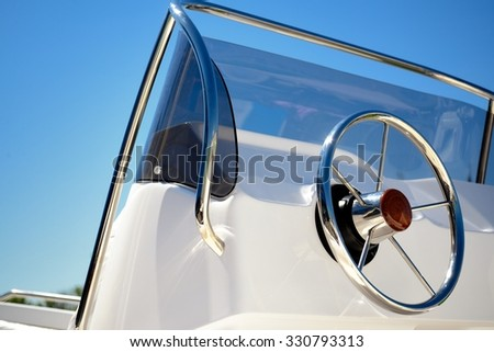 Modern sailing yacht steering wheels - stock photo
