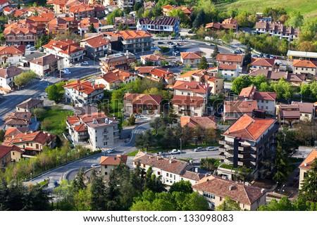 Modern San Marino Suburban districts view from above. Horizontal shot - stock photo