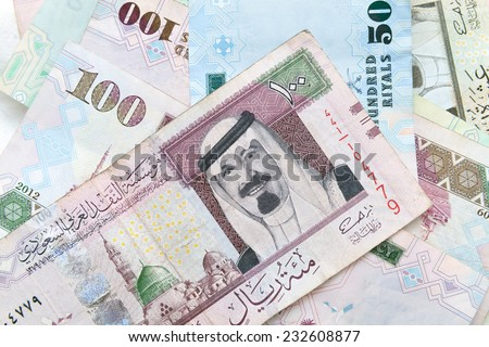 Modern Saudi Arabia money, banknotes close-up background photo texture - stock photo