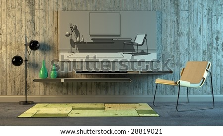 Modern Scandinavian interior with stylized look (3D render) - stock photo