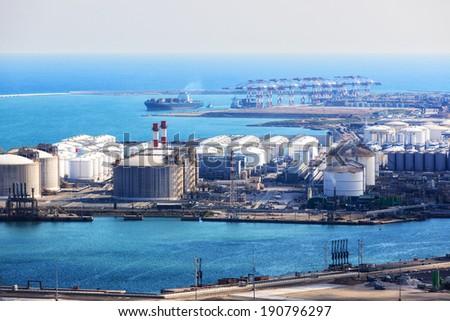 modern sea port on a sunny day - stock photo