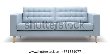 Modern 3 seat sofa - stock photo
