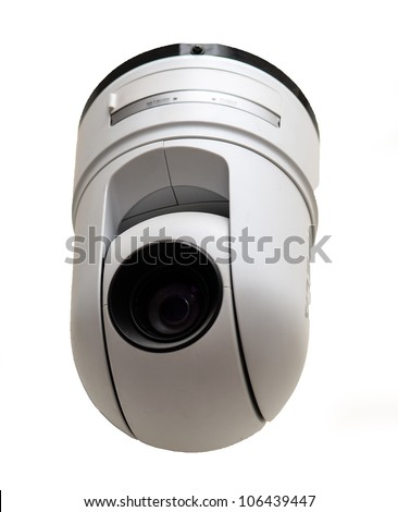Modern security camera isolated on white - stock photo