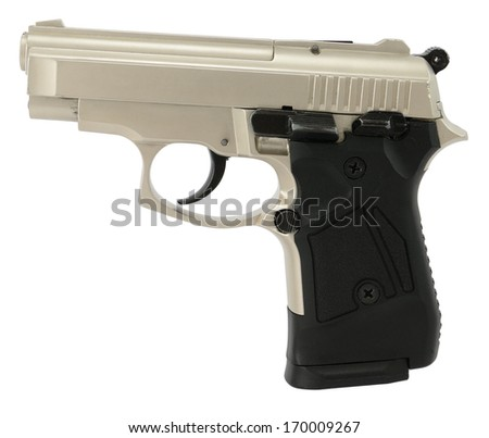Modern semiautomatic hand gun isolated on white. - stock photo
