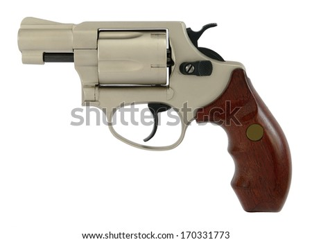 Modern semiautomatic hand gun (revolver), isolated on white. - stock photo