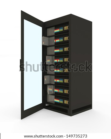 Modern Server Rack with opened door isolated on white background - stock photo