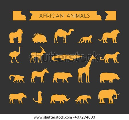 Modern set of silhouettes of African animals. Cool silhouette of lion, monkey and crocodile. Gold silhouette of a lemur, giraffe, hyena and elephant. - stock photo