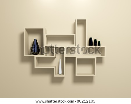 Modern shelves on beige wall with decorative vases. 3d rendered. - stock photo