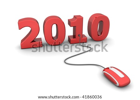 modern shiny red computer mouse connected to the shiny red date 2010 - welcome the new year - stock photo