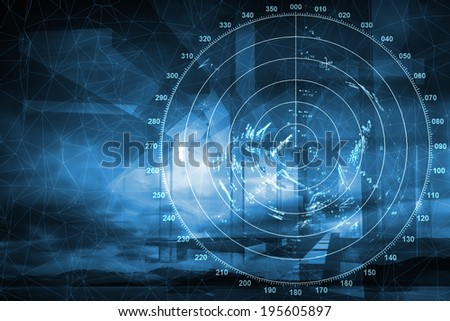 Modern ship radar digital screen above blue abstract background - stock photo