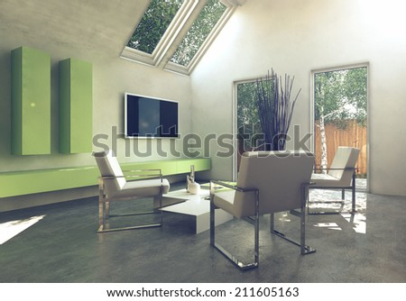 Modern simple cottage living room interior with grouped metal frame armchair around a low table and wall mounted yellow cabinets and television below skylight windows - stock photo