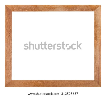 modern simple flat wooden picture frame with cut out blank space isolated on white background - stock photo