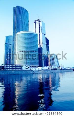 Modern skyscrapers business centre in Moscow, Russia. Tint Blue - stock photo