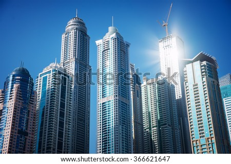 Modern skyscrapers in Dubai Marina - stock photo