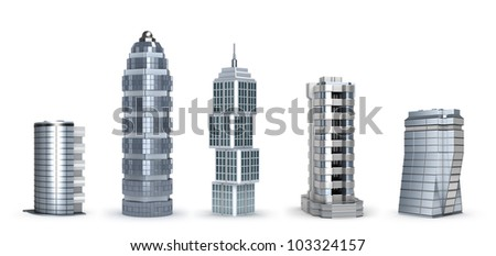 Modern skyscrapers isolated on white - stock photo
