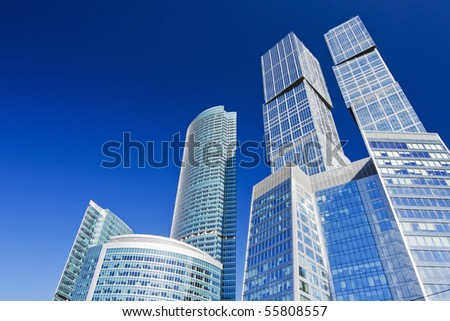 modern skyscrapers on a background of blue sky - stock photo