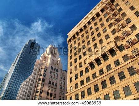 Modern skyscrapers soaring in downtown Los Angeles HDR processed - stock photo