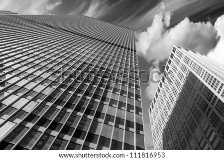 Modern Skyscrapers with Dramatic Sky, USA - stock photo