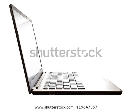 modern slim notebook computer isolated on white background - stock photo