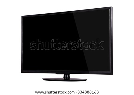 modern slim plasma TV on a black stand isolated on a white background. - stock photo