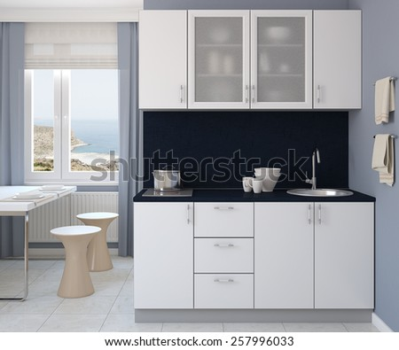 Modern small white kitchen. 3d render. Photo behind the window was made by me. - stock photo