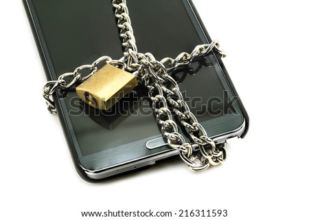 modern smart phone with combination lock padlock. concept of mobile - stock photo