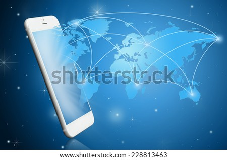 Modern smart phone with communication map ; Technology concept - stock photo