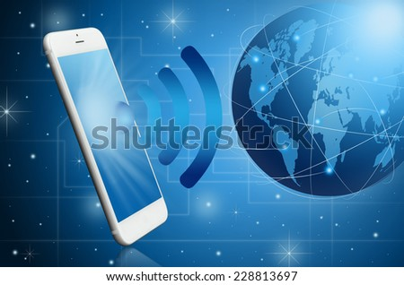 Modern smart phone with WiFi signal in the world ; Technology concept - stock photo