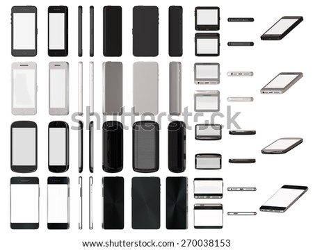 Modern smart phones set different angle views isolated on white template.  - stock photo