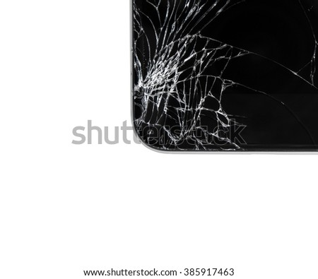 Modern smartphone with broken glass screen isolated on white background. Device needs repair. - stock photo