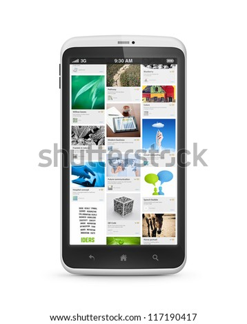 Modern smartphone with social media application on a screen. Isolated on white. High quality very detailed realistic object. - stock photo
