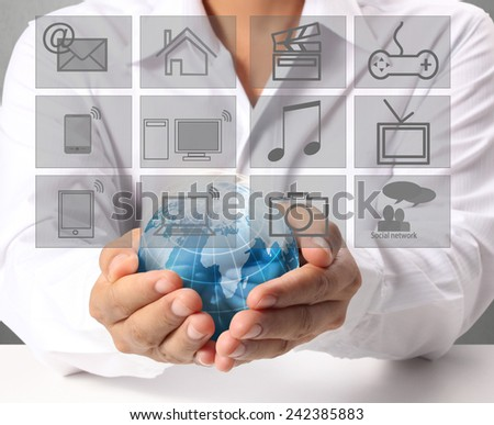 modern social buttons in the hand  - stock photo
