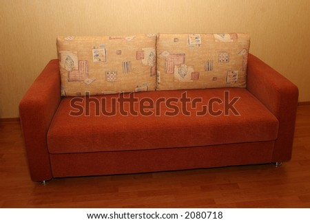 Modern sofa - an interior of a living room - stock photo
