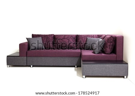 Modern sofa furniture not isolated on white background - stock photo