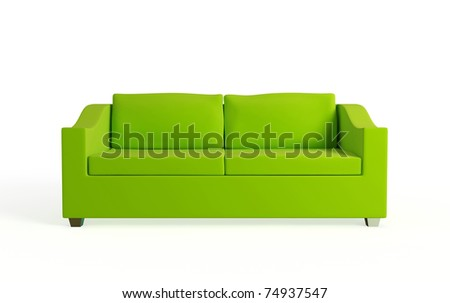 Modern sofa. Isolated on white background.3d rendered. - stock photo