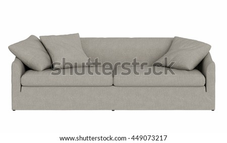 Modern sofa  isolated on white background , front view - stock photo