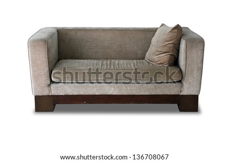 Modern sofa isolated on white background with Clipping Part - stock photo