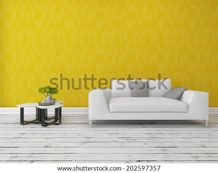 Modern sofa with a nest of small tables and bonsai tree in front of a gold wall on a rustic wooden floor painted white with copyspace - stock photo