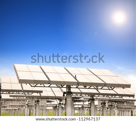 modern solar panel with sun tracking system - stock photo