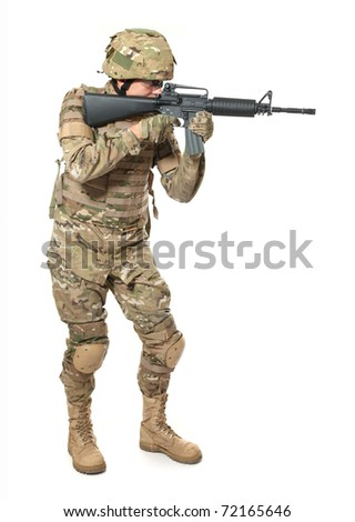 Modern soldier with rifle isolated on a white background - stock photo
