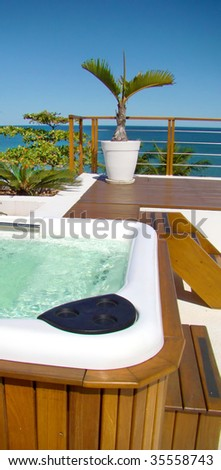 modern spa jacuzzi with a beautiful view to the sea - stock photo