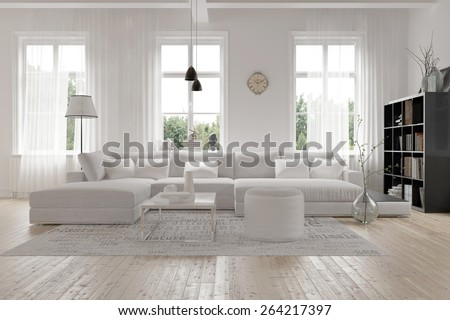 Modern spacious lounge or living room interior with monochromatic white furniture and decor below three tall bright windows with a dark bookcase accent in the corner.  3d Rendering - stock photo
